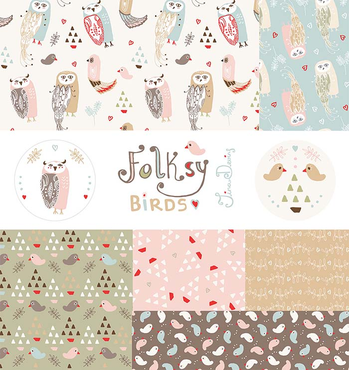 Folksy Birds Christmas Pattern Collection by Tina Devins