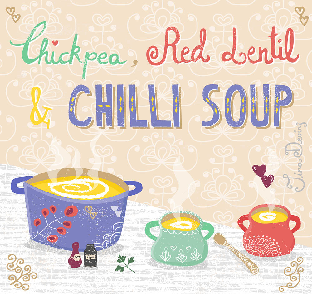 Chickpea, Red Lentil & Chilli Soup Recipe by Tina Devins