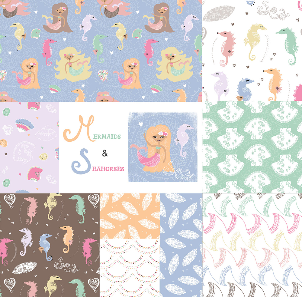 Mermaids & Seahorses Pattern Collection by Tina Devins