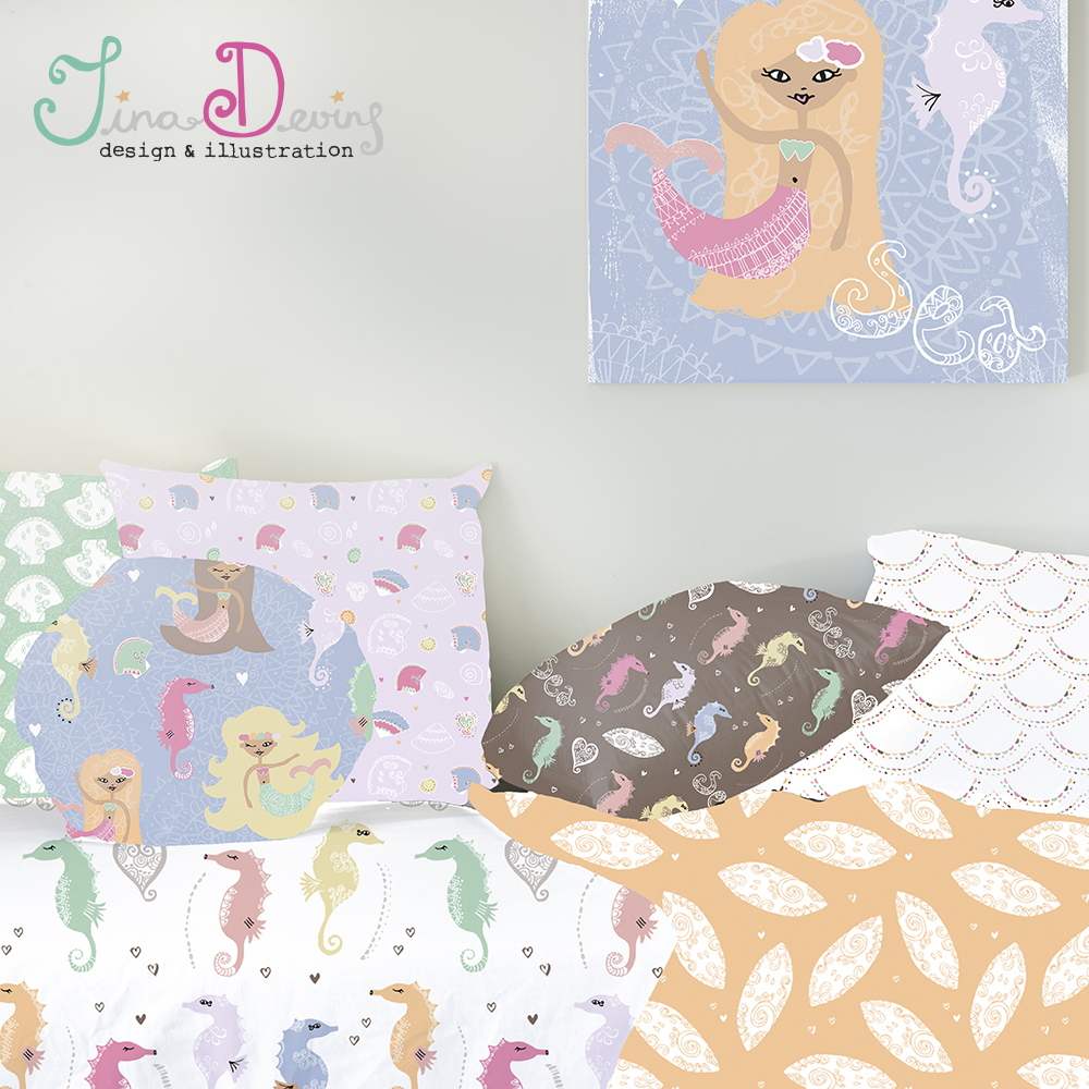 pattern-design-Illustration-Tina-Devins-textiles-fabric-childrens-Mermaids-Seahorses