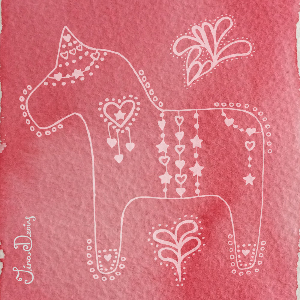 Doodle Dala Horse by Tina Devins