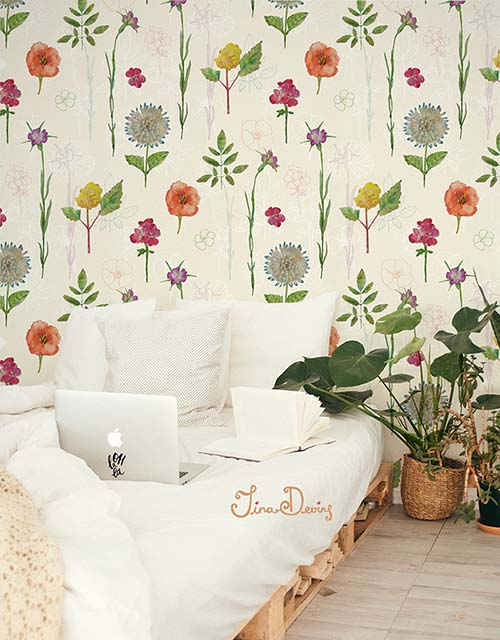 Botanical Flowers Wallpaper Pattern by Tina Devins