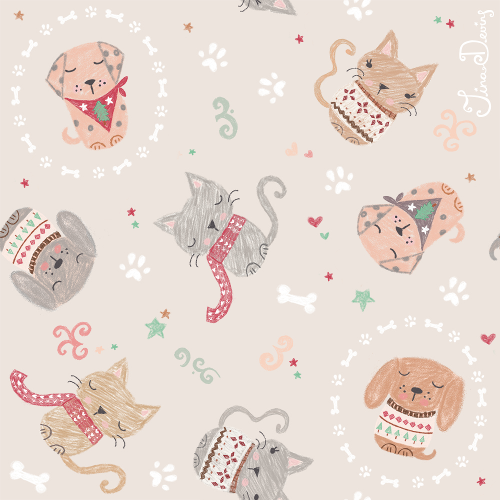 Cats & Dogs Christmas Pattern by Tina Devins