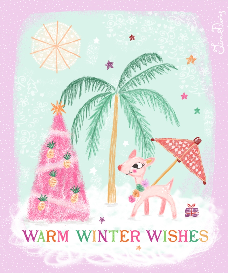 Warm Winter Wishes Christmas Illustration by Tina Devins