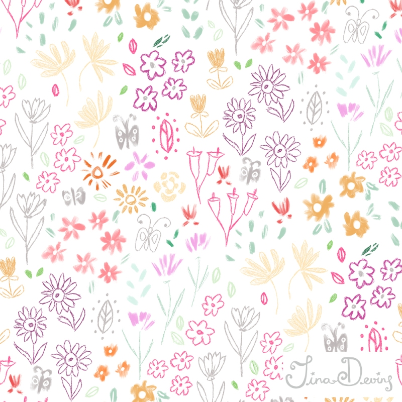 Ditsy Flowers Pattern by Tina Devins