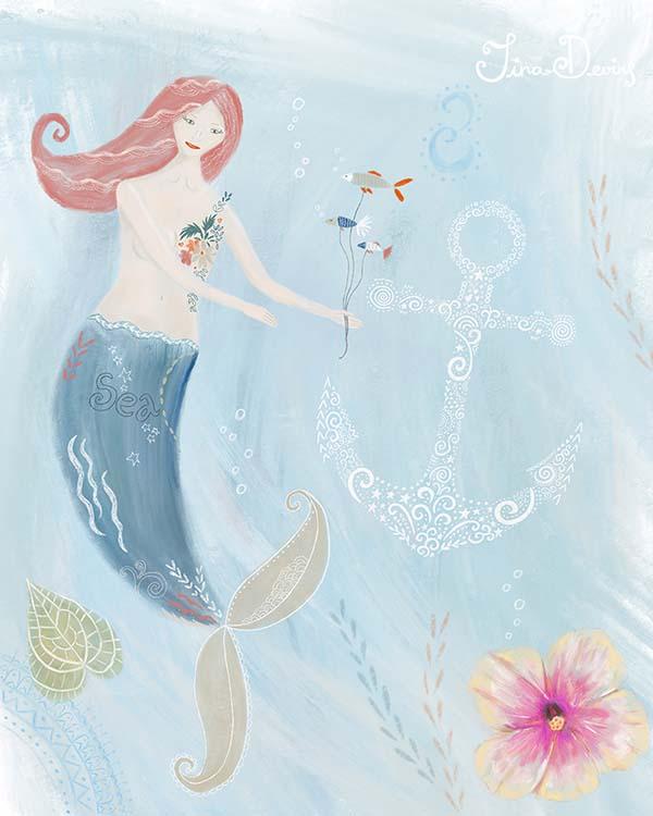 Mermaid Illustration by Tina Devins