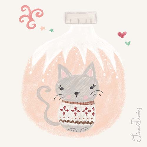 Cat Christmas Bauble by Tina Devins
