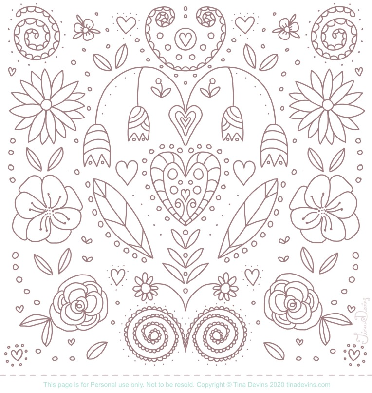 Free colouring page, design by Tina Devins