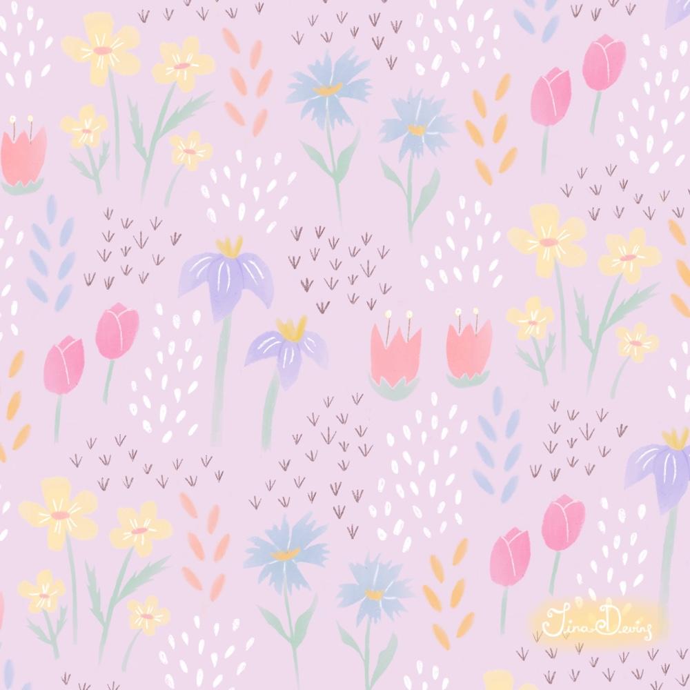 'Spring Dreams' floral pattern by Tina Devins