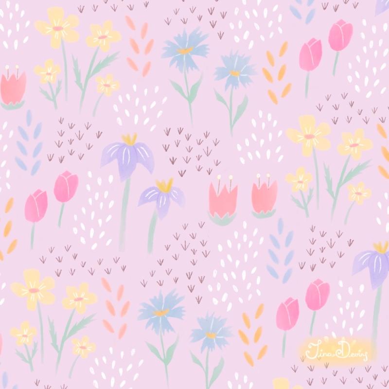 'Spring Dreams' floral pattern by Tina Devins