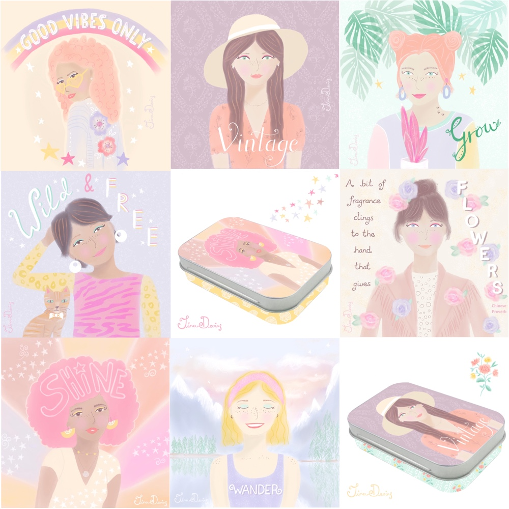 Girl illustrations by Tina Devins