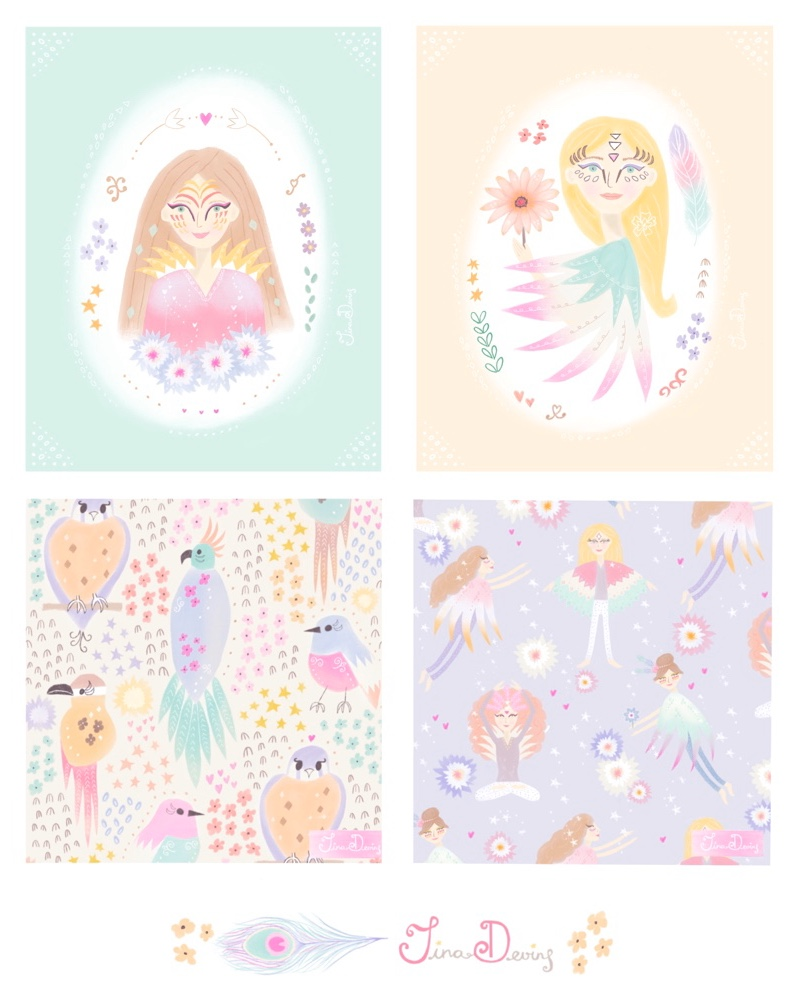 'Bird Bloom Girls' Collection by Tina Devins