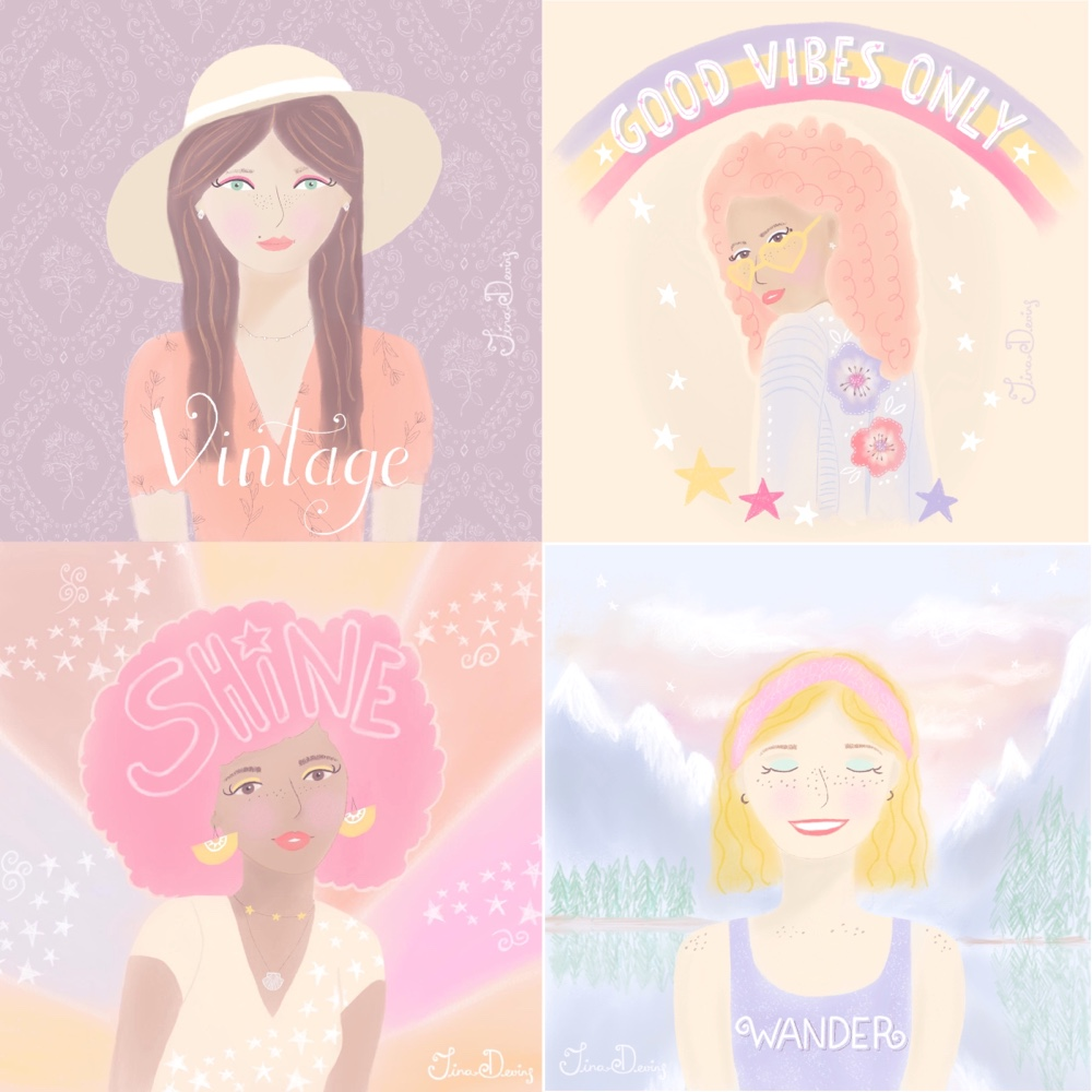 Girl Illustration Fun with Faces by Tina Devins