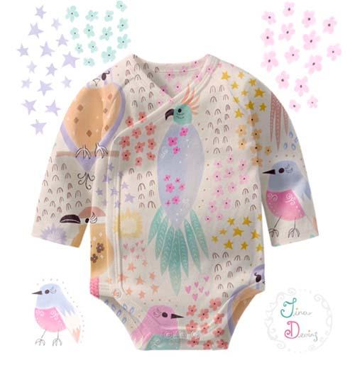 'Bird Bloom Girls' pattern by Tina Devins